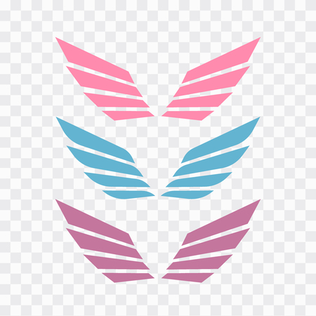 Angel wings drawing vector illustration. Set of heraldic wings or angel wings drawn  イラスト・ベクター素材