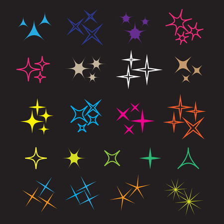 Sparkle lights stars set. Glowing light effect star. Sparkle lights vector