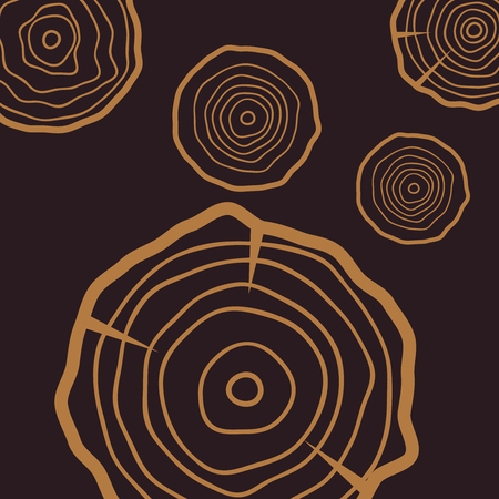 Tree rings background. Abstract age annual circle tree vector Ilustração