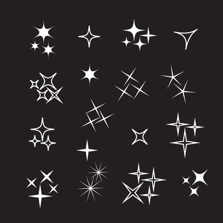 Sparkle lights stars set. Bright firework, decoration twinkle, shiny flash Imagens - 116822510