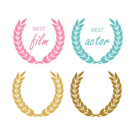 Vector medal and award icons set. Laurel wreaths and ribbon rosettes vector Stok Fotoğraf - 125281041