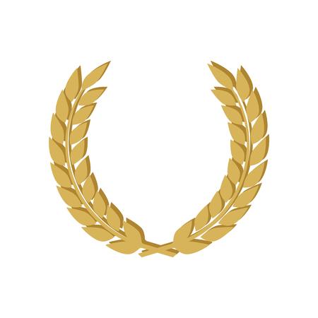 Golden shields laurel badges collection. Gold medal vector illustration. Illustration