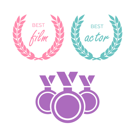 Film Awards, gold award. Winner triumph and success vector laurel Stock Illustratie
