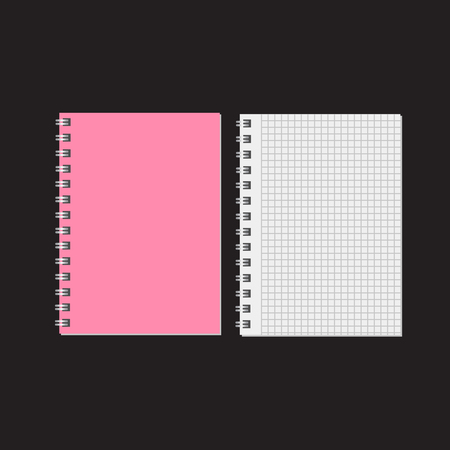 Blank realistic notebook. Diary notepad, paper page and notebook Illustration