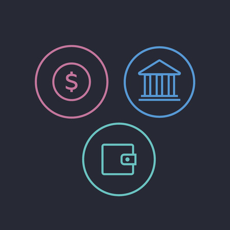 Money banking cash business and finance icons. Tax icons vector