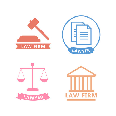 Set of black and white law and justice icons. Lawyer flat vector illustration Illustration