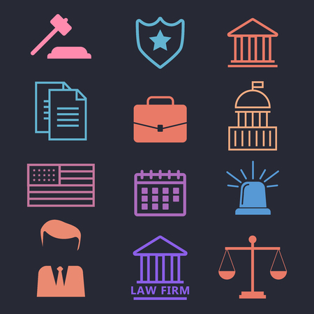 Legal services, law and order. Justice flat concept. Lawyer flat vector illustration