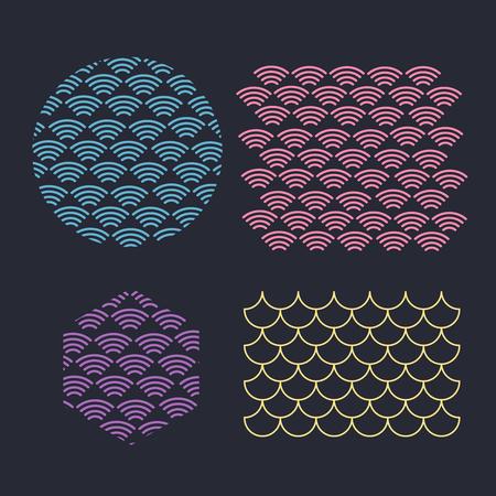 Japanese traditional pattern. Wave pattern. Sea japan pattern vector Vector Illustration