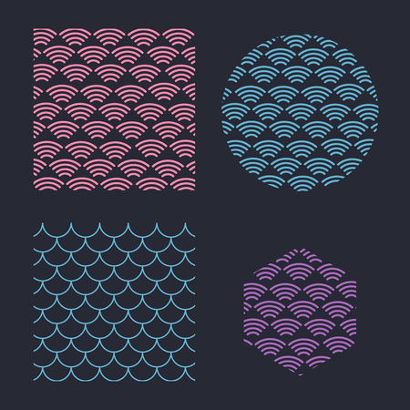 Japanese texture background. Wave pattern. Sea japan pattern vector Ilustração