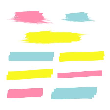 Yellow highlight marker lines. Highlighter strokes vector. Marker marks Ilustração Vetorial