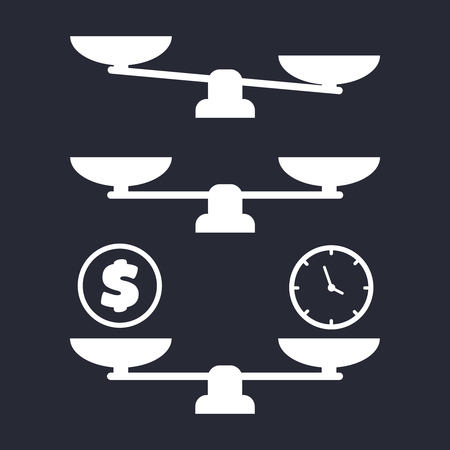 Vector scale illustration. balance icons. Business success