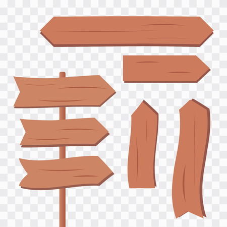Western blank wooden planks. Cartoon wooden plank signs