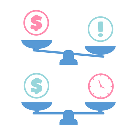 scale single symbol. Time and money on scales Çizim