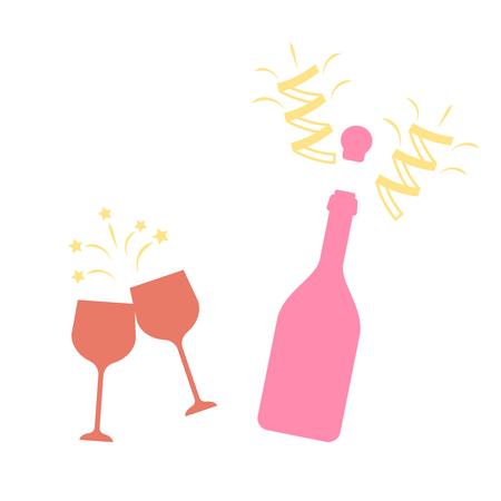 Champagne bottle vector explosion. Toast vector champagne glasses icon Illustration