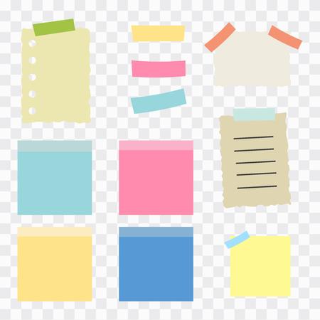 illustration of paper lists set. Colored set of sticky notes