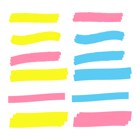 Vector highlighter elements. Yellow marker text selection Banque d'images - 124933499
