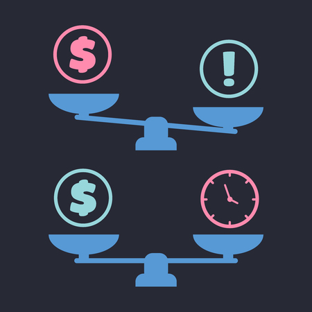 Time and money on scales. Vector scale illustration Çizim
