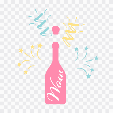 vector illustrations of champagne icons. Bottle of Champagne explosion vintage
