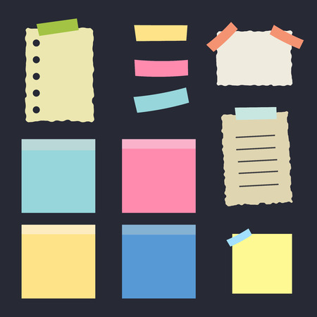 Multicolor post it notes isolated. Colored sheets of note papers vector illustration Illustration