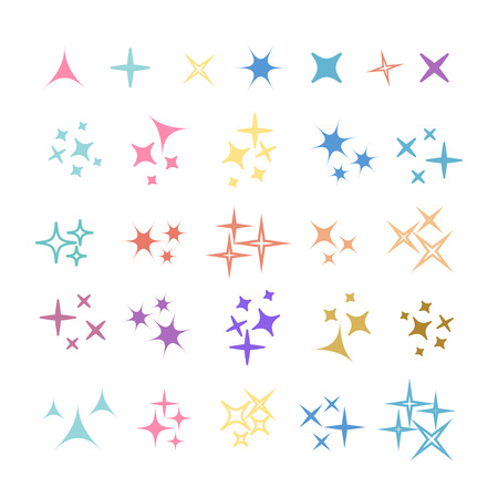 Sparkles, glowing light effect stars and bursts. Bright firework, decoration twinkle, shiny flash 向量圖像