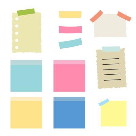 Farbige Blätter der Briefpapiervektorillustration. Mehrfarbige Haftnotizen isoliert