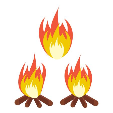 Vector cartoon bonfire. Fire camp. Campfire cartoon illustration Foto de archivo - 124933548