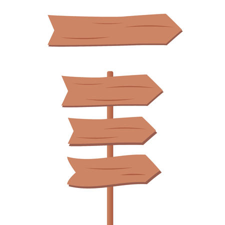 Wooden blank cartoon sign boards. Wooden sign set