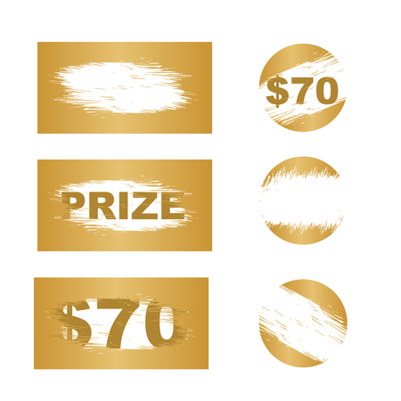 Scratch card elements. Lottery scratch and win game card background.