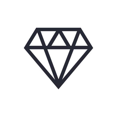 Diamant-Symbol. Symbol für die Diamantlinie. Diamant-Umriss-Vektor-Zeichen Vektorgrafik