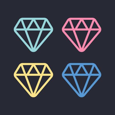 Diamond line icon. Diamond outline vector sign. Brilliant vector icon Vetores