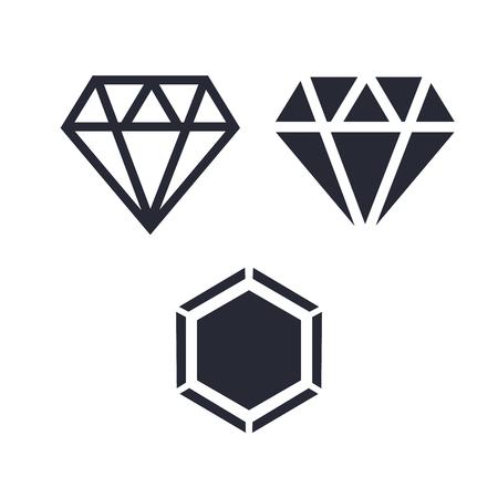 Diamond icons set. Diamond line icon. Diamond outline vector sign