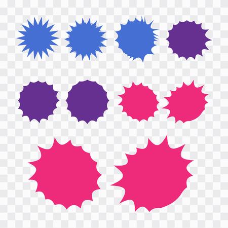 Starburst explosion comic shapes. Speech boom bubble  Illustration