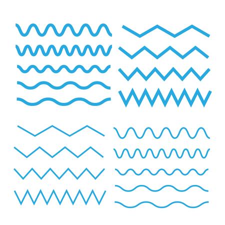 Set of wavy. Curvy and zigzag cross horizontal lines Stock Vector - 118520750