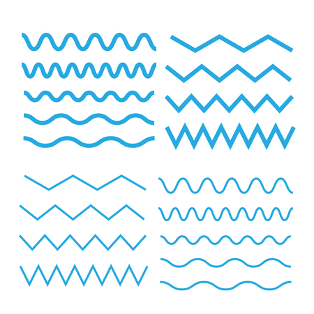 Set of wavy. Curvy and zigzag cross horizontal lines