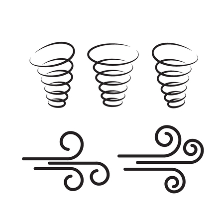 Wind icons nature, wave flowing, cool weather, climate and motion, vector illustration - Vector Vetores