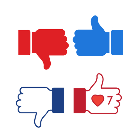 Like and dislike icons set. Thumbs up and thumbs down. Thumb up symbol, finger up icon. like and dislike sign
