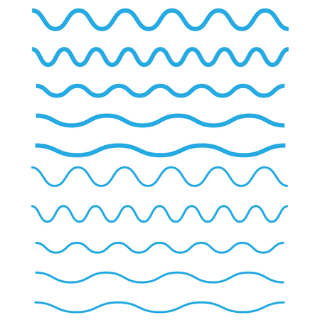 Set of wavy, zigzag, horizontal lines. Waves outline icon. Wave thin line symbol