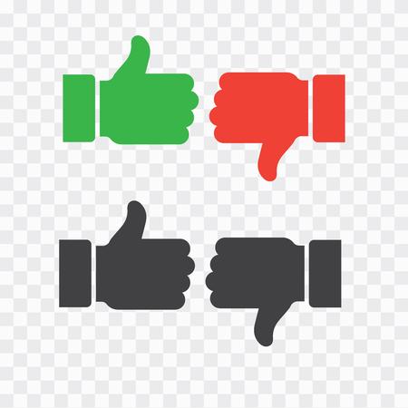 Dislike like icon flat. Thumb up symbol, finger up icon. like and dislike sign