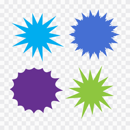Bursting speech star set. Starburst isolated icons set
