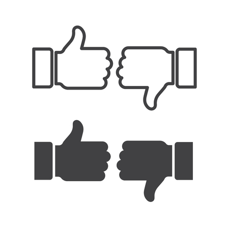 Like and dislike icons set. Thumbs up and thumbs down. Stockfoto - 118521095