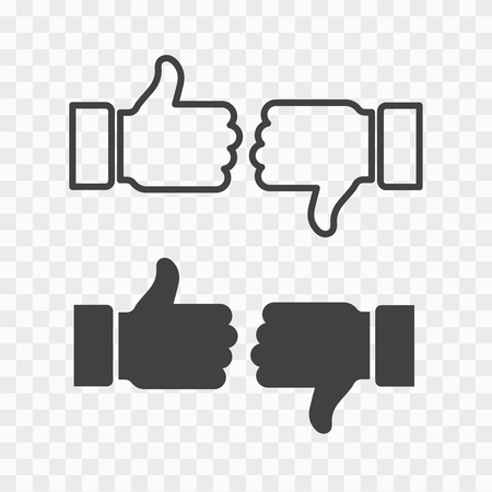 Like and dislike icons set. Thumbs up and thumbs down.