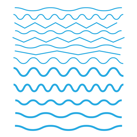 Set of wavy horizontal thin and thick lines. Waves outline icon. Wave thin line symbol