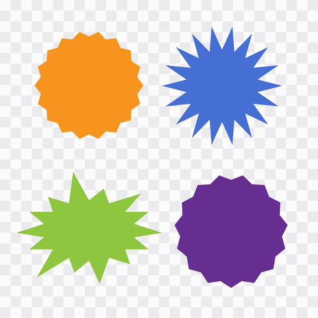 Different starburst vector. Starburst isolated icons set 矢量图像