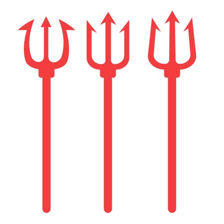 Ilustración de vector de tridente. Conjunto diablo horquilla. Icono de diablo tridente