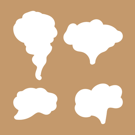 Jet trailing smoke isolated. Steam, cloud and smoke icons