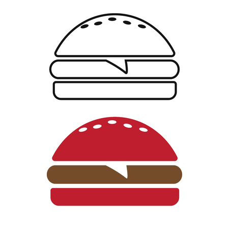 Icon burger Single. Fast food icon. Burger vector silhouette