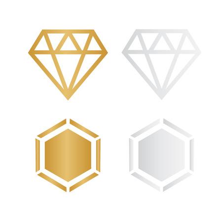 Diamond vector icons set. Diamond outline vector sign  Ilustrace