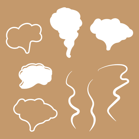 Steam, cloud and smoke icons. Hand drawn doodle smoke, clouds and fog 矢量图像