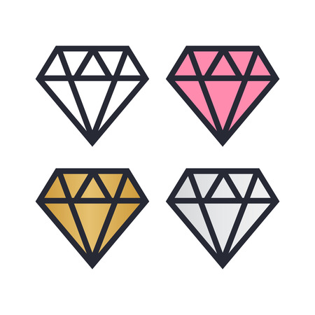 Diamond vector icons set. Brilliant vector icon