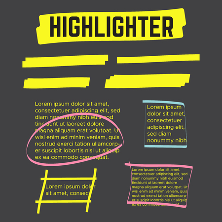 Marker marks. Yellow marker text selection vector Çizim